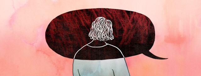 A woman's head and shoulders are overlapped by a giant dark speech bubble bearing bad news, totally overwhelming the peaceful colors of the rest of her surroundings.