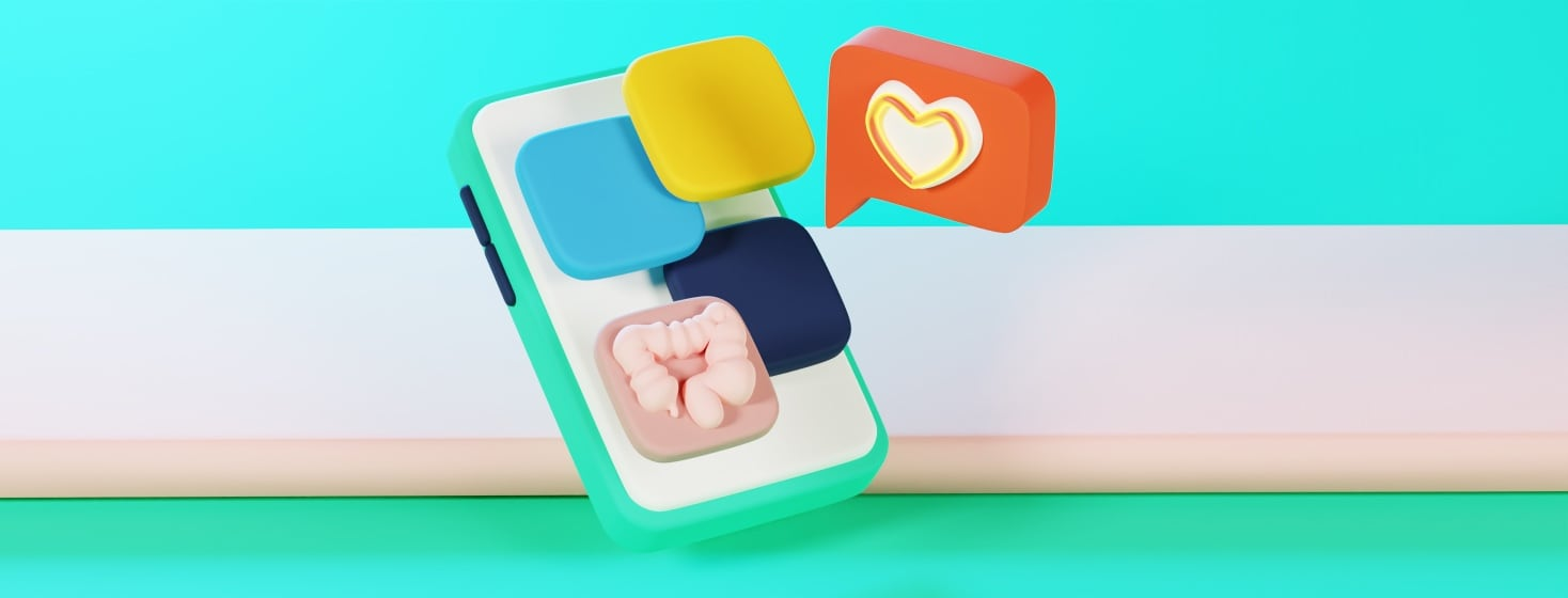 A cell phone with four floating app icons, one of which has a colon on it. Off to the right is a red popup with a glowing heart.