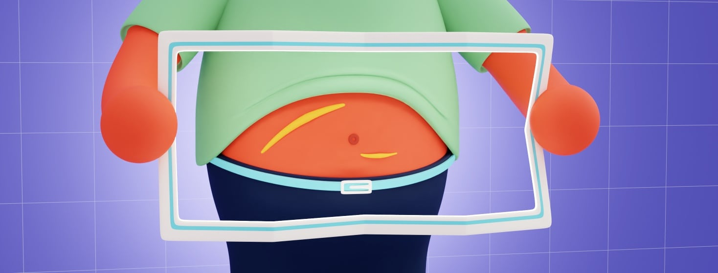 A person holding a frame that resembles a folded map over their midsection. Their shirt is pulled up and you can see scars on their abdomen.