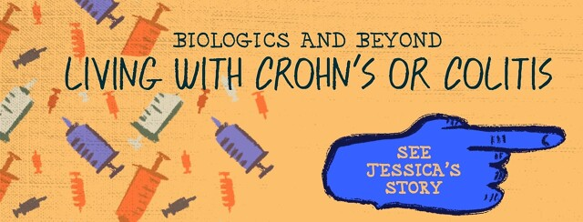 """A pattern made up of injectors is behind text that reads """"Biologics and Beyond: Living with Crohn's or Colitis."""""""