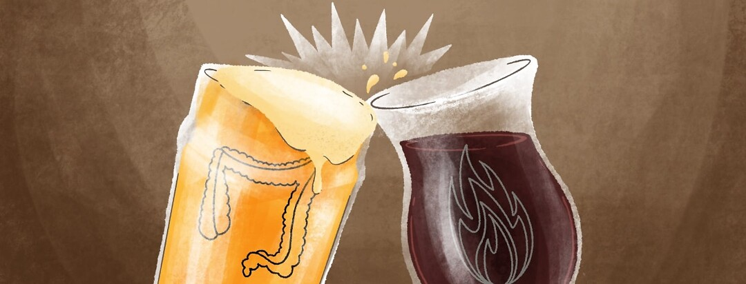 Two glasses tapping together, one has wine and one has beer. On the glasses are an intestine and a flare symbol.
