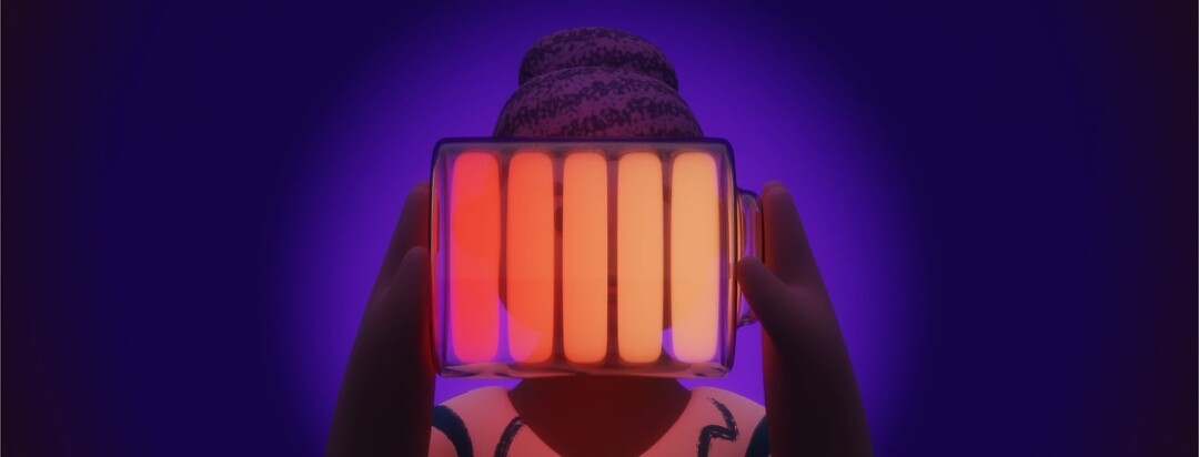 A woman holding a glowing battery in front of her face. The battery is yellow, orange, and red to signify a low battery.
