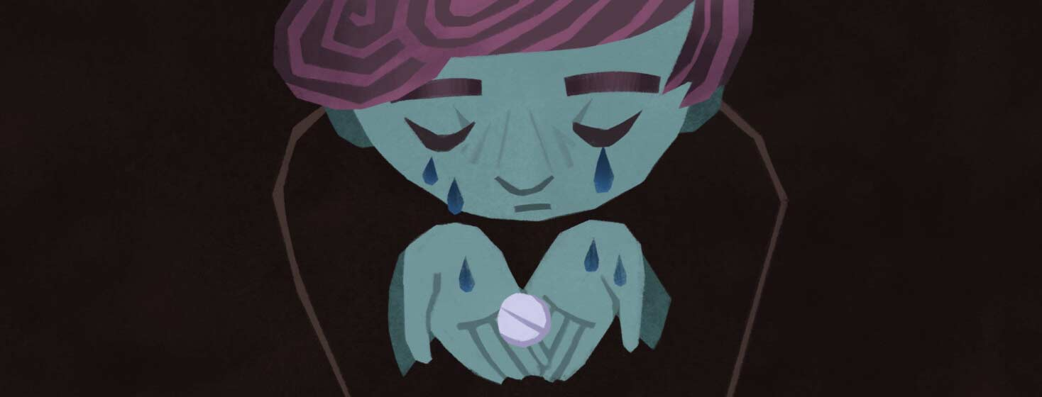 Adult is crying and looking down at a medical pill, medication, side effects, treatment. NB, Non-binary, Genderqueer