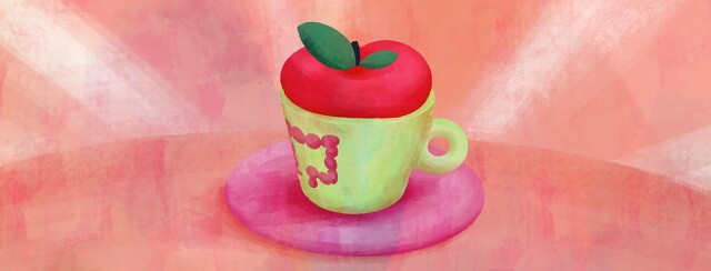 A mug is sitting on a saucer. In the mug is an apple. Printed on the mug is a healthy colon.